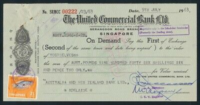 "Australia: Singapore 1963 United Commercial ""RARE £A946/6/2d DRAFT"" Duty Stamps"