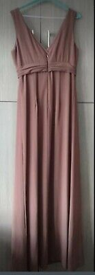 Long Bridesmaid Dress Size 10. Brown Chiffon
