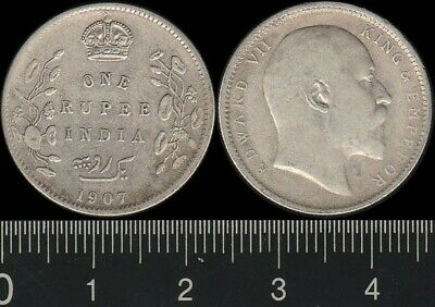 India: 1907C One Rupee King Edward VII, 1 Rupee silver