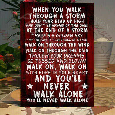 Liverpool Fan Chant,You will Never walk Alone Sign ,The Reds, Wooden Plaque,