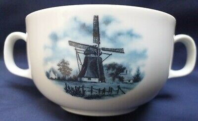 Ter Steege 1984 Bv Delft Blauw 3 Handled Blue Soup Cup Windmills Hand Decorated