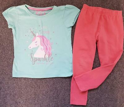 Lovely 2 Piece Outfit, Short Sleeve, Glitter, Unicorn Top/Leggings, 2-3 Yrs