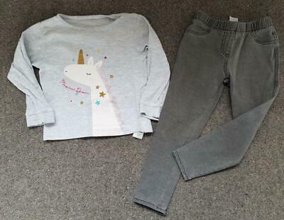 Girls 2 Piece Outfit, Grey, Applique Unicorn Top/Grey Jeans, 2-3 Years