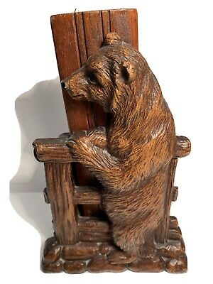 Vintage Syroco Wood Bear Brush Carved Wood Black Forest Style Bear
