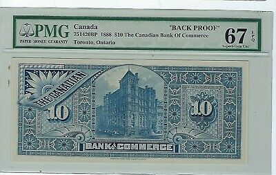 1888 $10  CANADIAN BANK OF COMMERCE 751420BP PMG 67 EPQ Back Proof Finest Known