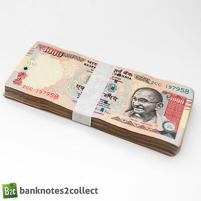 INDIA: 100 x 1,000 Indian Rupee Banknotes. Full Bundle.