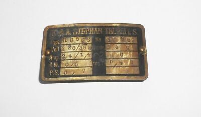 Altes Messing Herstellerschild K.& A. Stephan Thurm i.S. Motoren Pumpen Maschine
