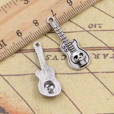 8pcs 32*11mm Skull Guitar Charms Antique Silver Tone Pendant Bead Making DIY