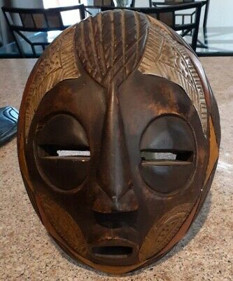 """AUTHENTIC HAND CARVED HARD WOOD & HAND PAINTED GHANA WOODEN TRIBAL MASK   8""""x10"""""""