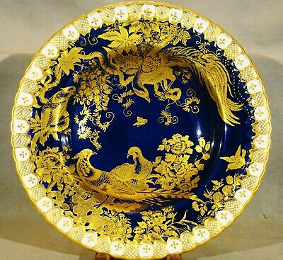 Royal Crown Derby Cobalt Gilded Birds Old Avesbury Ely Salad Bowl Soup Plate 8""