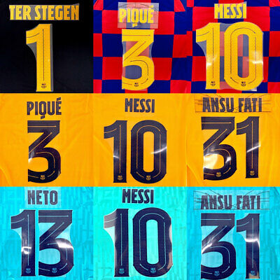 2019-20 Barcelona Player Issue Champions League Name Set Jersey