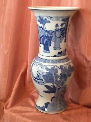 Chinese Marked Blue and White Character Story Porcelain Temple Vase 19.75
