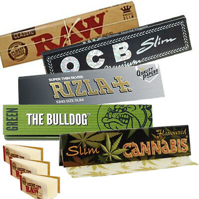 Lot of  RAW OCB RIZLA CANNABIS BULLDOG King Size Rolling Papers booklets + Tips