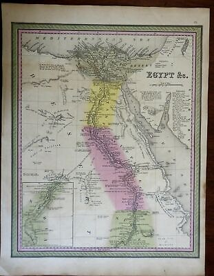 Egypt Nile River Nubia Cairo Archaeological Notations c. 1846-9 Mitchell map