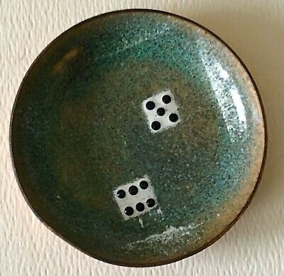 1950s Mid Century Modern Enamel On Copper Pair Of Dice Gambling Small Mini Bowl
