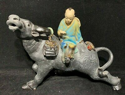Chinese Antique Vintage Statue Of Child Sitting On Ox Figure