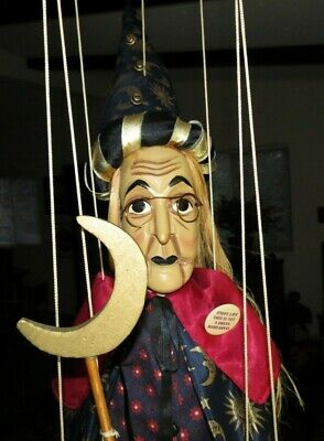 """Marionette/Puppet, Witch, Hand Carved Wood Head & Hands, 50"""" Tall, European"""