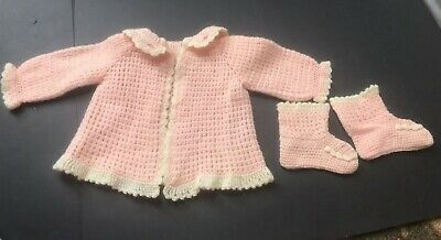 Vintage Handmade Pink  Knitted or Crocheted Baby Sweater and Matching Booties