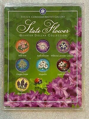 US Commemorative Gallery COLORIZED STATE FLOWER QUARTER DOLLAR COLLECTION