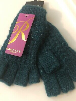 NWT Rampage Fingerless Gloves Dark Green One Size