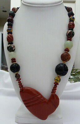 Asian Chinese Cloisonne Enamel Jade Carved Brick Red Jasper Heart Bead Necklace