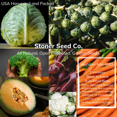 350+ Heirloom Vegetable Seed 7 Variety Garden Pack Emergency Survival Non-GMO
