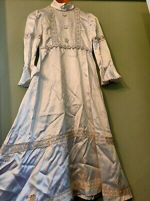 VINTAGE 70s 'DEPY GEORGE' Girls White Satin Maxi Communion Formal Dress Sz8-10