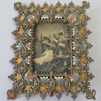 Antique 19thC ART NOUVEAU Bronzed Metal ENAMELED Frame Easel TINTYPE Girl w DOLL