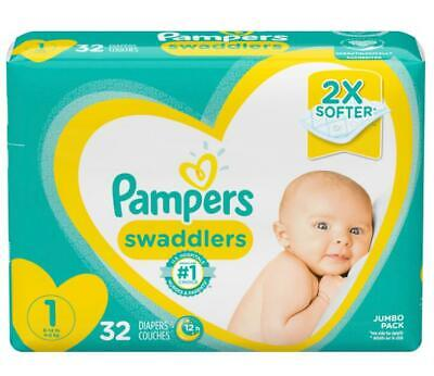 Pampers Swaddlers Soft and Absorbent Newborn Diapers, Size 1, 32 Ct