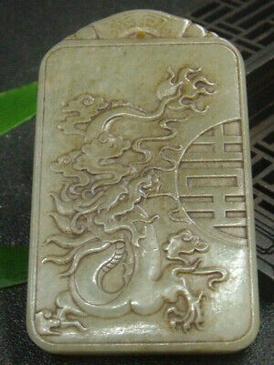 Antique Chinese Nephrite Celadon Hetian- OLD jade Hollow Dragon Statues/Pendant1
