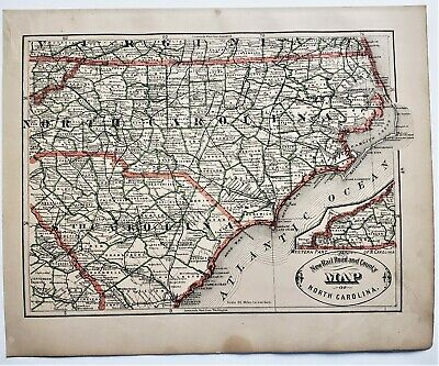 Original 1883 Color  Map Of North Carolina From Crams  Atlas Of The World