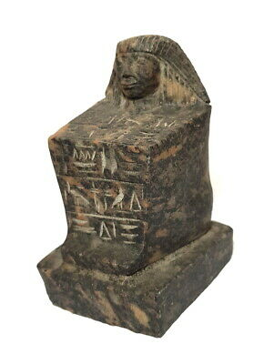 Rare Figurine Egypt Antique Block Carved Sculpture Seated Granite Stone Statue