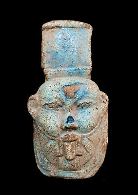 Rare Bes God Statue Egyptian Antique Icon Of Sex Blue Faience Ancient Bead Bust