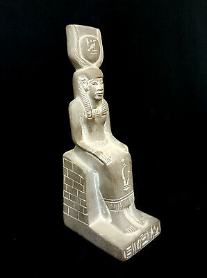 Isis Egyptian Hathor Antique Basalt Stone Ancient Figurine Goddess Antiquities