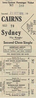 RAILWAY TICKET -  NSW & QR Railways - Cairns to Syd -  2nd  Adult Single
