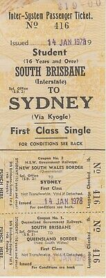 RAILWAY TICKET -  NSW & QR Railways - SB Interstate to Syd -  1st Student Single