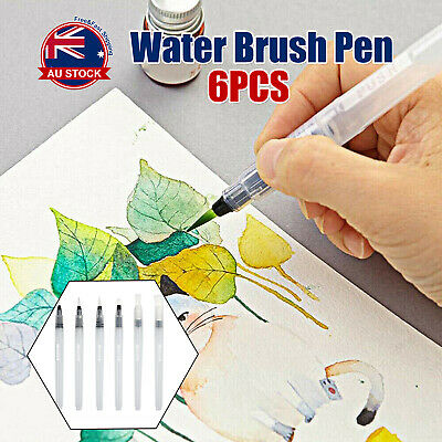 6x Artist Ink Water Brush Pen Set Watercolor Calligraphy Painting Drawing +