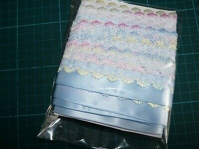 Beautiful Knitting In Lace Pastels With Light Blue Satin Ribbon Trim 5 Metres