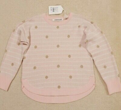 BNWT COUNTRY ROAD Girls Pink/White & Gold Spot Knit Jumper Knit Size 5