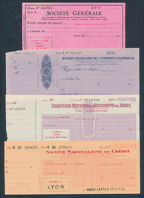 """France: 1935-1963 """"COLLECTION OF 4 OLD CHEQUES"""""""