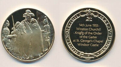 Great Britain: Churchill 1953 Knighthood 25.6g Gilt Sterling Silver Medal
