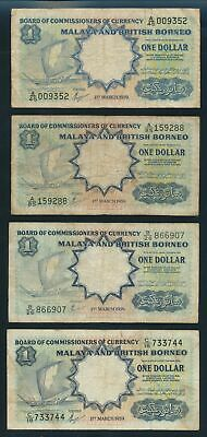 "Malaya & British Borneo: 1959 $1 P8a ""A"" + P8A ""A, B & C"". SET OF 4 PREFIXES!"