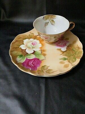 Lefton China Tea & Toast Snack Set. Heritage Floral Collection