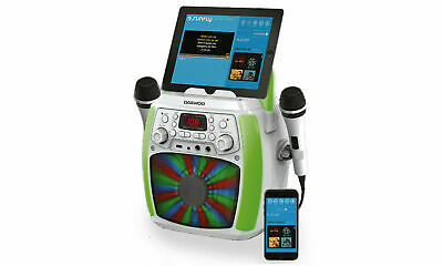 Daewoo Bluetooth Portable Karaoke Machine with 2 Wired Microphones LED Lights
