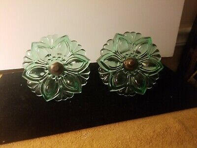 "Vintage Pair Green Sandwich Glass Curtain Tie Backs 4.25"" Diameter"