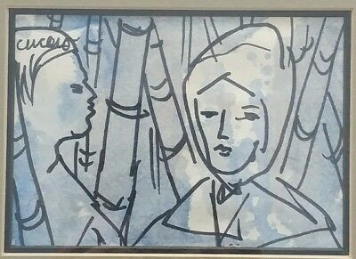 """Original PASCAL CUCARO Fine Art Watercolor Painting Signed & Framed 13"""" X 10"""""""