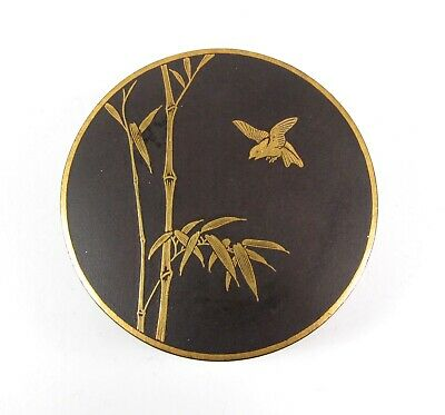 Exquisite Meiji Antique Japanese Signed Damascene Round Trinket Box Birds Bamboo