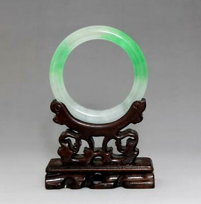 Perfect Rare Chinese Carved Natural Jadeite Bracelet Bangle 6Cm (K5)