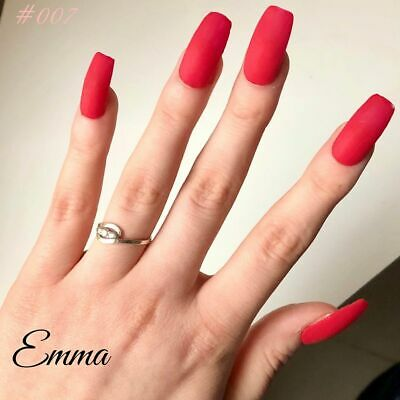 Press on Emma - Kit faux ongles rouge mat, colle Acrylique handmade