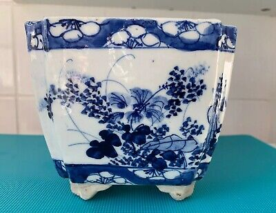 Bonsai Pot , Chinese Blue and White Flowers